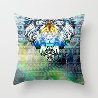 the lion king Throw Pillows featuring KING LION by sametsevincer