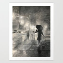 Alone in Bright Lights Art Print