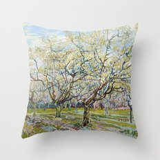 The White Orchard by Vincent van Gogh Throw Pillow