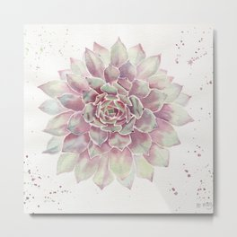Big Succulent Watercolor Metal Print