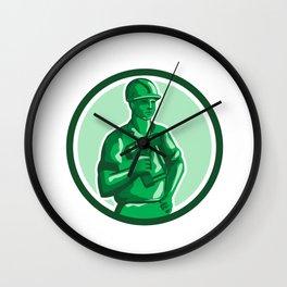 Green Construction Worker Nailgun Circle Retro Wall Clock