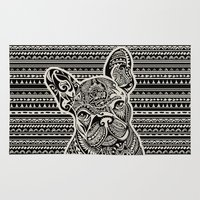 frenchie Area & Throw Rugs featuring Polynesian  Frenchie by Huebucket