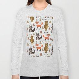 Bohemian orange brown forest animal arrows tribal pattern Long Sleeve T-shirt