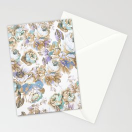 Vintage blush lavender brown teal blue roses floral Stationery Cards