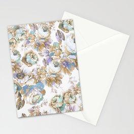 Vintage blush lavender brown teal blue roses floral Stationery Cards