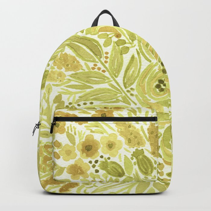 Watercolor . Yellow green bouquet . Backpack