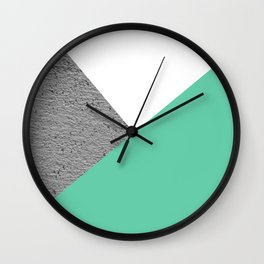 Concrete vs Aquamarine Geometry Wall Clock