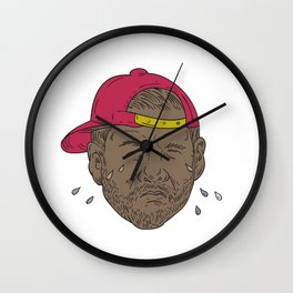 African-American Rapper Crying Drawing Wall Clock