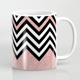 Modern black white chevron faux rose gold glitter Coffee Mug