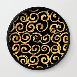 Gold Swirls on Black Background Wall Clock
