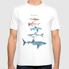 Sharks White Mens Fitted Tee LARGE