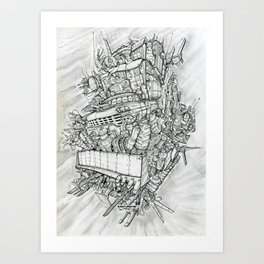 Flying pick-up Art Print