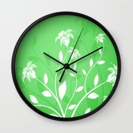 green and white flowers Wall Clock