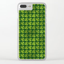 Irish Shamrock -Clover Green Glitter pattern Clear iPhone Case