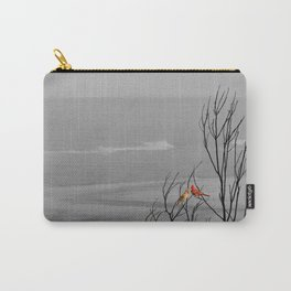 Red Cardinal Birds Black and White Beach Coastal A195 Carry-All Pouch