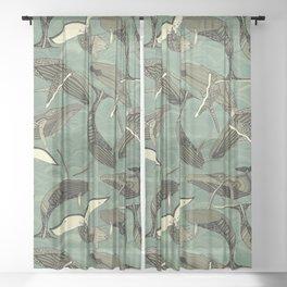 whales and waves aqua Sheer Curtain
