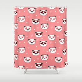Panda Valentine's day animal love cute heart glasses valentine gifts Shower Curtain