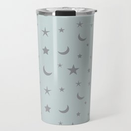 Grey moon and star pattern on baby blue background Travel Mug
