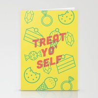 treat yo self Stationery Cards featuring Treat Yo' Self by Zeke Tucker