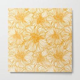 yellow sunflower on linen Metal Print