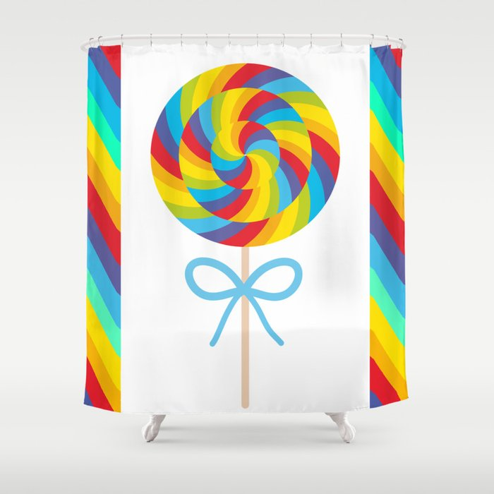 Candy Lollipop With Bow Colorful Spiral Cane Shower Curtain