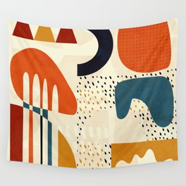 mid century shapes geometric abstract color 1 Wall Tapestry