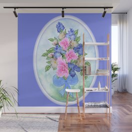 Glad and Iris Bouquet Oval on Blue Wall Mural