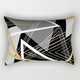 Original Gray and Gold Abstract Geometric Rectangular Pillow