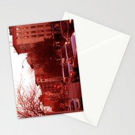 NYC Houston Street at Dusk - Red Haze Stationery Cards