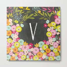 V botanical monogram. Letter initial with colorful flowers on a chalkboard background Metal Print