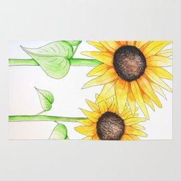 Sunflower Watercolor & ink Rug