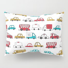 Cars trucks buses city highway transportation illustration cute kids room gifts Pillow Sham