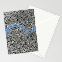 Map of London Thames Drawing Stationery Cards