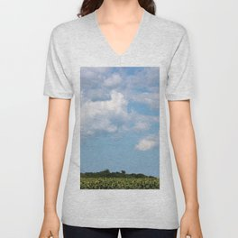 Field of Sunflowers Horizontal Unisex V-Neck
