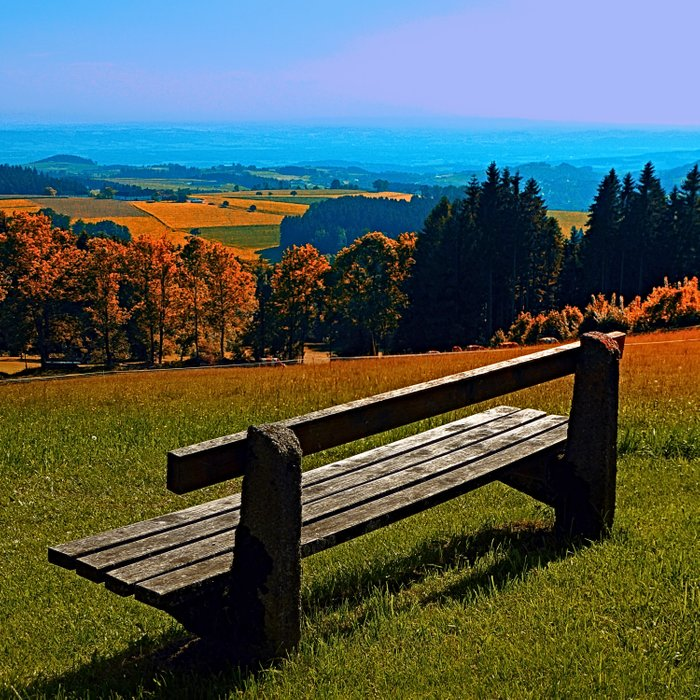 Summertime scenery and the bench to watch it Comforters