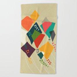 Whimsical kites Beach Towel