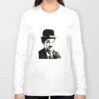 charlie chaplin Long Sleeve T-shirts featuring Charlie Chaplin by Lauren Randalls ART