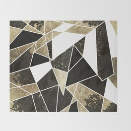 Modern Rustic Black White and Faux Gold Geometric Throw Blanket