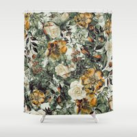 valentina Shower Curtains featuring RPE FLORAL by RIZA PEKER