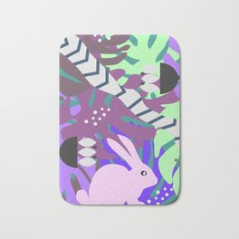 Rabbit and monstera leaves in purple Bath Mat