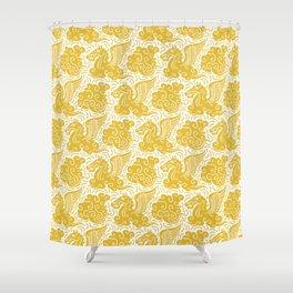 Pegasus Pattern Mustard Yellow Shower Curtain