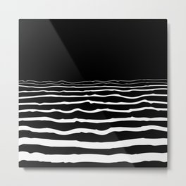 Black and white pattern, abstract landscape illustration Metal Print