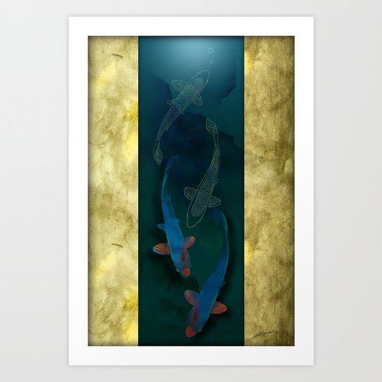 Blue Koi Art Print