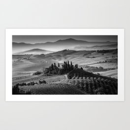 Black and White Tuscany - Italy Art Print