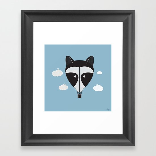 Hot Air Raccoon Framed Art Print