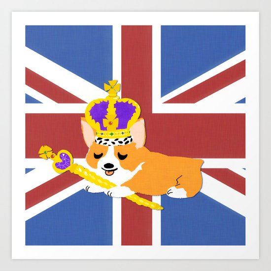Crown Corgi Art Print