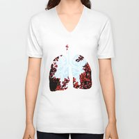 lungs V-neck T-shirts featuring Lungs by Keka Delso