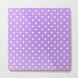 Lilac with White Polka Dots Metal Print