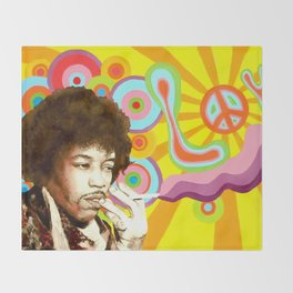 Jimi Hendrix (Peace & Love) Throw Blanket