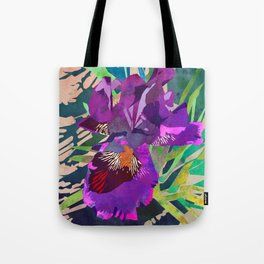 Watercolor Iris Flower with Shadows - Bright Purple & Pink Tote Bag